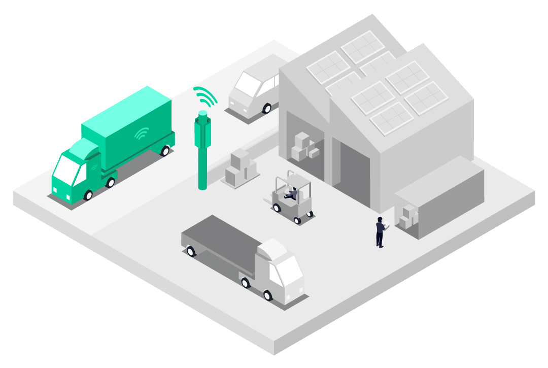 Connected lorry deployed with Multi-Network SIM connected to best cellular network on industrial site illustration