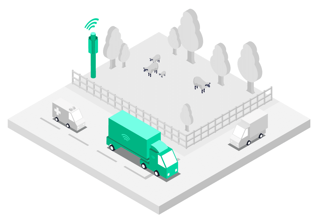 Connected lorry deployed with Multi-Network SIM connected to best cellular network in rural location illustration