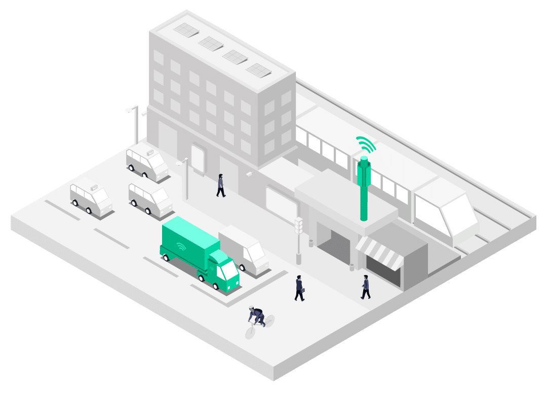 Connected lorry deployed with Multi-Network SIM connected to best cellular network in city illustration