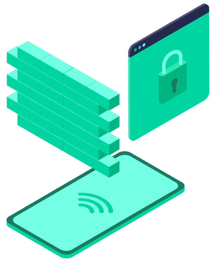 Pangea Protect: Mobile Content Filtering illustration showing how we secure your mobile devices and protect sensitive data