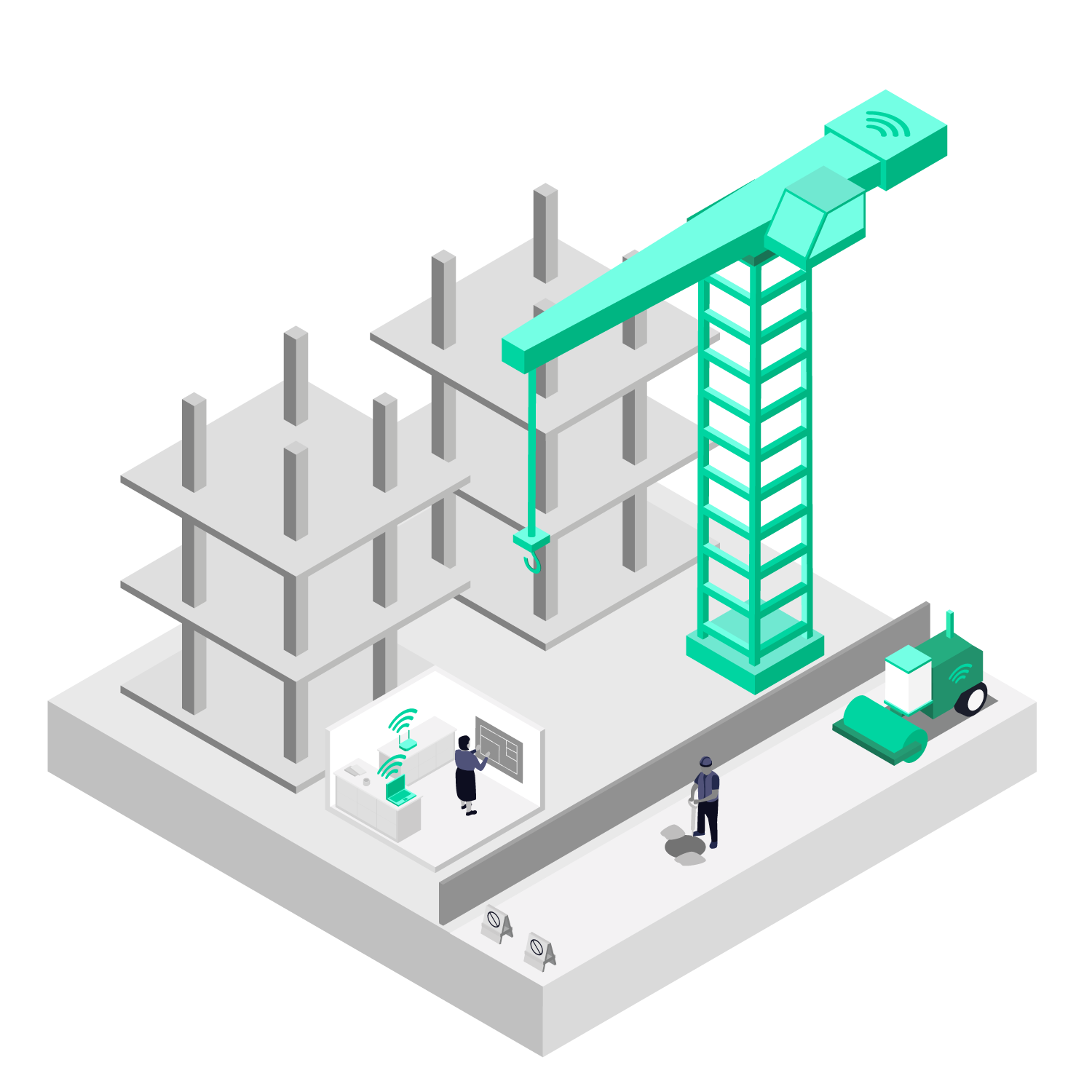 Illustration showing how 5G connectivity could benefit a construction site