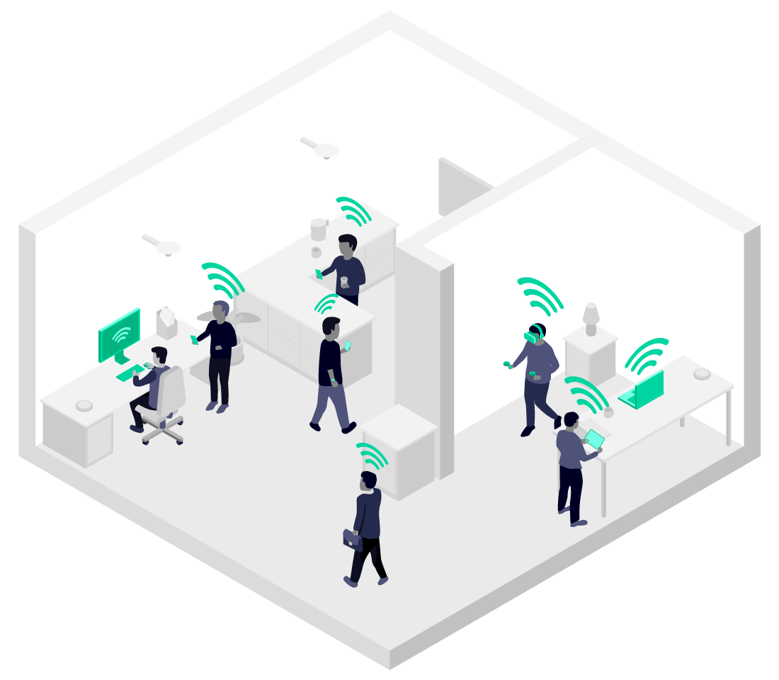 Illustration showing how 5G connectivity could benefit home and office workers