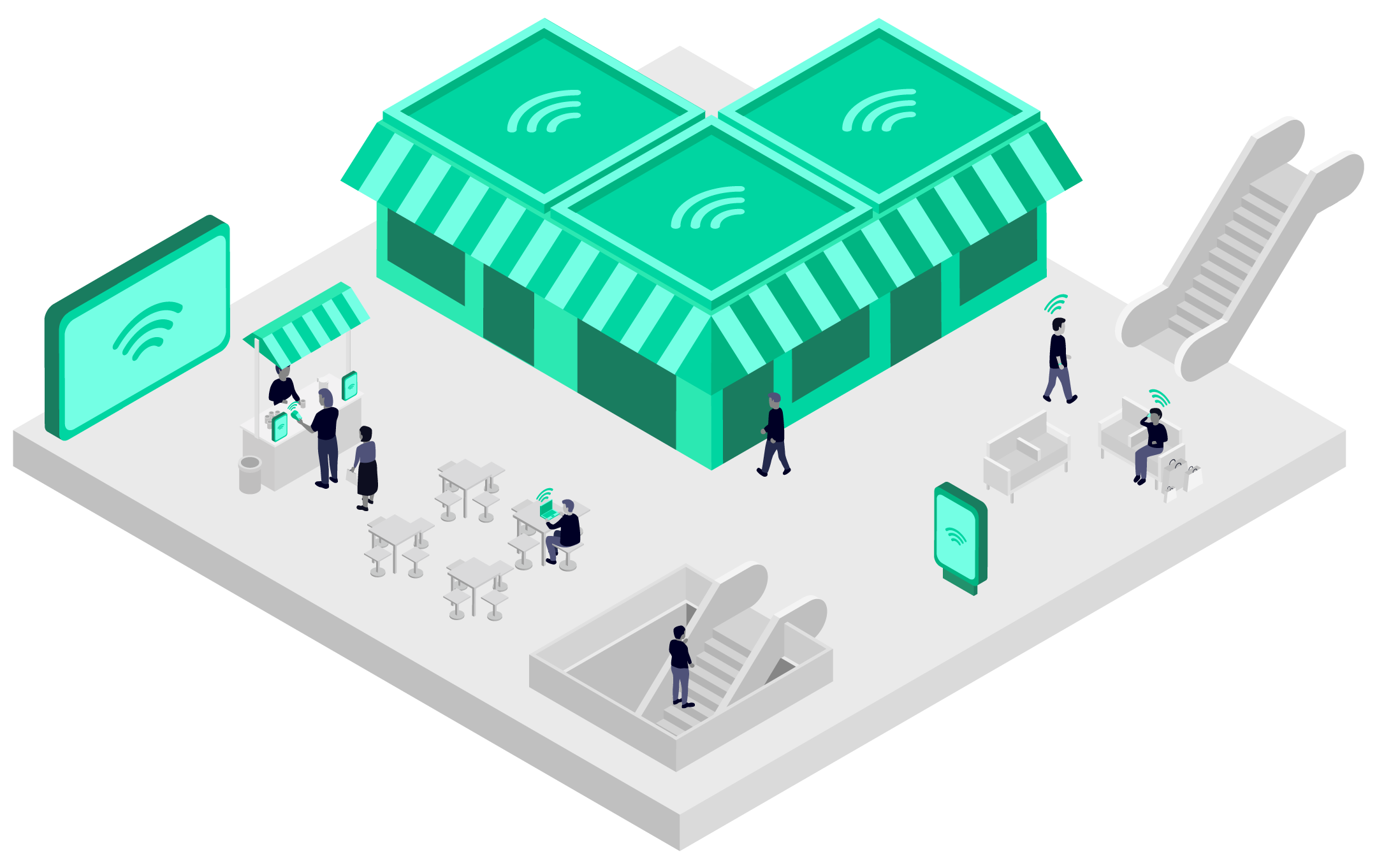 Illustration showing how 5G connectivity could benefit a shopping centre