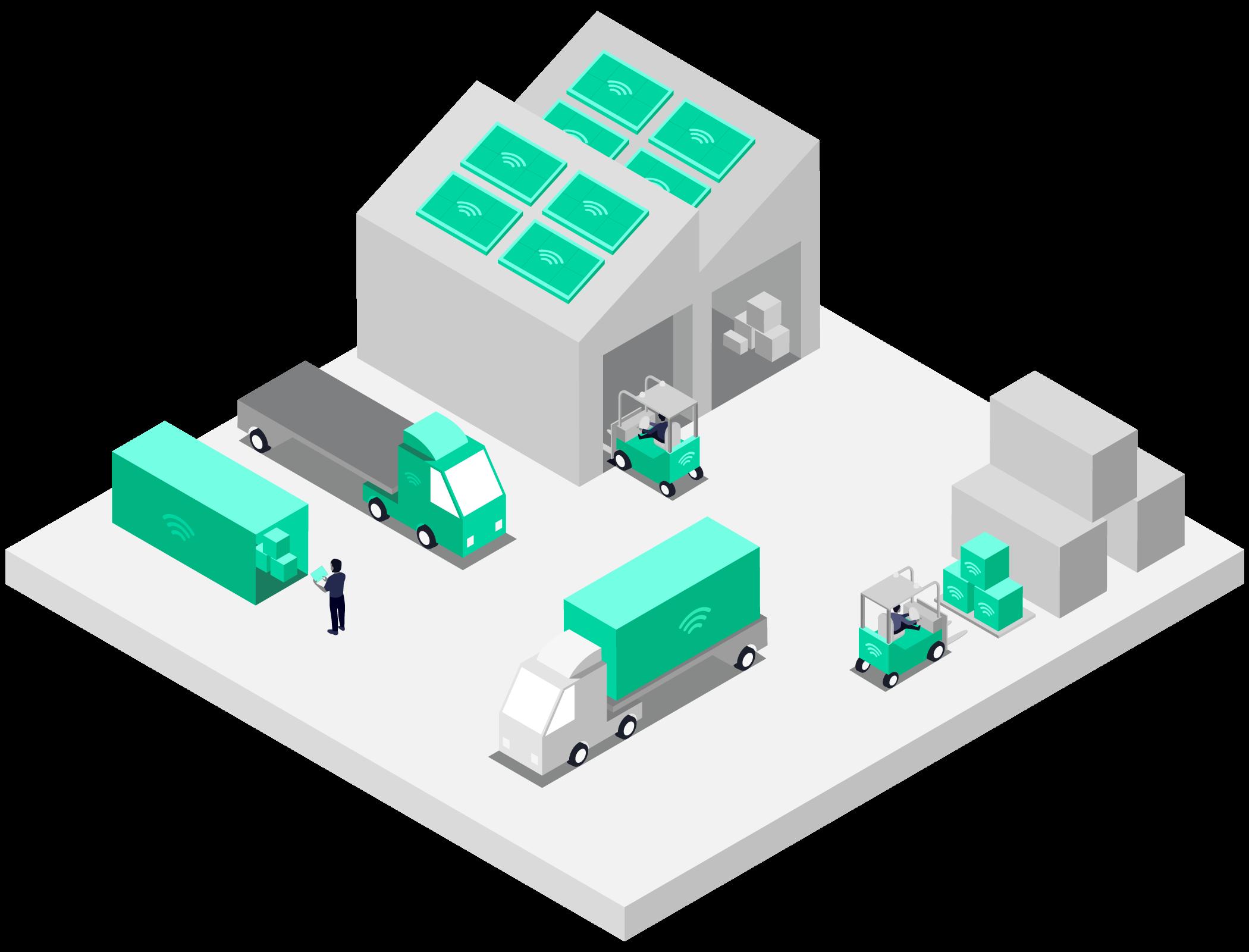 Logistics scene showing Pangea IoT SIM cards in use