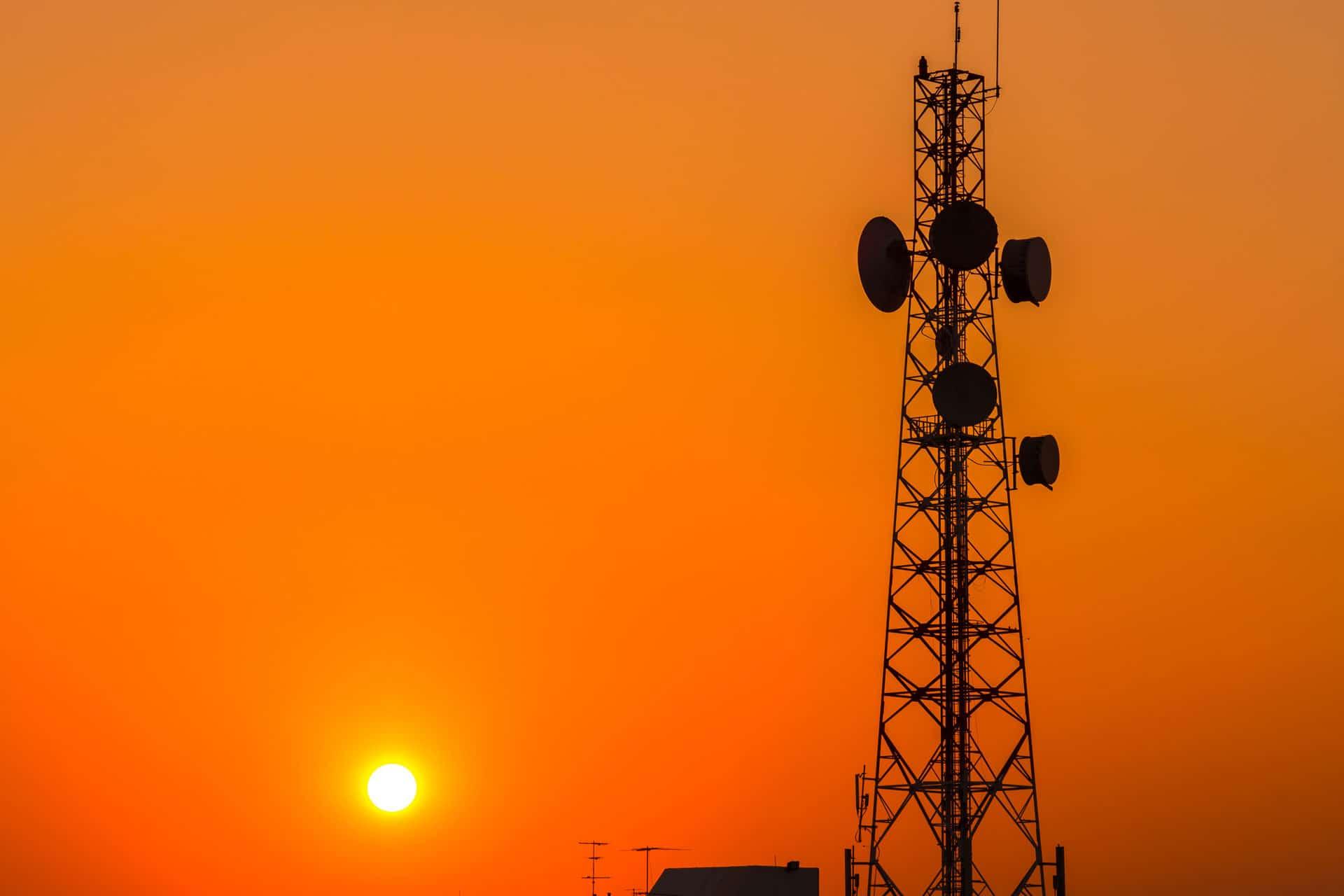 Pangea IoT blog: 2G tower with sunset