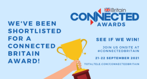 Connected Britain awards and Comms business awards 2021 banners