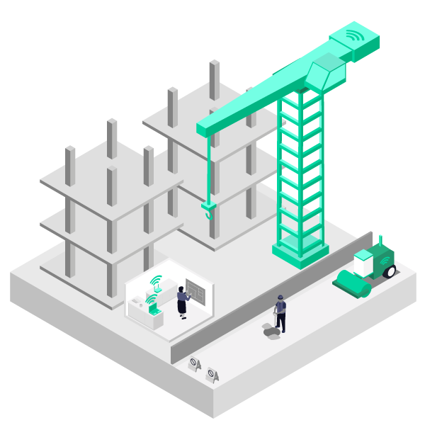 Illustration showing how mobile data revenue can be made supplying construction sites