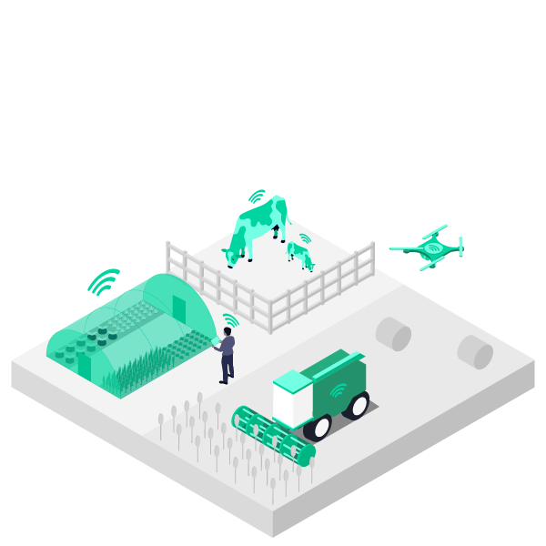 Illustration showing how mobile data revenue can be made with farms